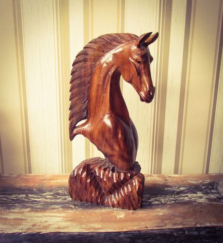 Mahogany Carved Wooden Horses Head 40cm